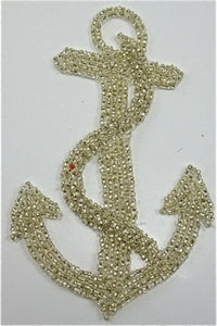 "Anchor with Vintage Silver Beads Vintage Product 5.5"" x 3"" - Sequinappliques.com"
