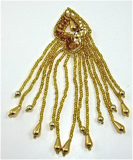"Epaulet with Gold Sequins and Beads 5"" x 1.5"""