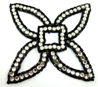 Designer Motif Four Point Black Beads and Rhinestones 5.5