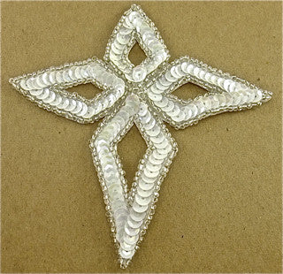 "SEQUIN WHITE DIAMOND MOTIF WITH SILVER BEADED TRIM, 4.5""."