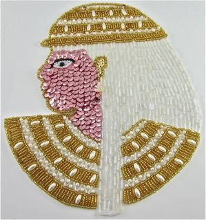 "Cleopatra Egyptian Pharaoh, Pink Sequins, Gold and White Beads 6"" x 8"""