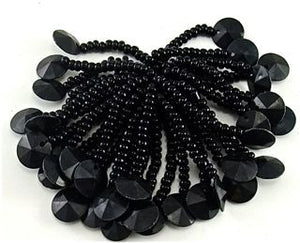 "Epaulet Black with Beaded Fringe and Black Bead at the end and one sequin at the end 1.5"" length"
