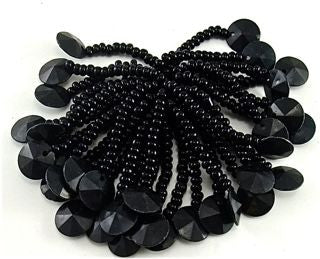Epaulet Black with Beaded Fringe and Black Bead at the end and one sequin at the end 1.5