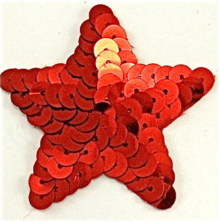 Star Red Sequins with No Beaded Trim 1""