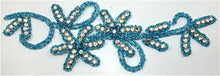 "Load image into Gallery viewer, Flower Single with Turquoise Beads and Rhinestones 9"" x 2.5"""