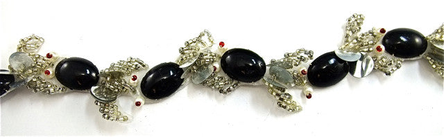 Trim Black Silver and White Beads 1""