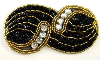 "Designer Motif with Black and Gold Sequins and beads Rhinestones 4"" x 2"""
