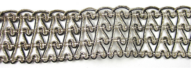 "Trim with Silver and Black Bullion Thread  3"" Wide"