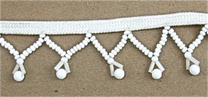 D WHITE BEADED TRIM ""