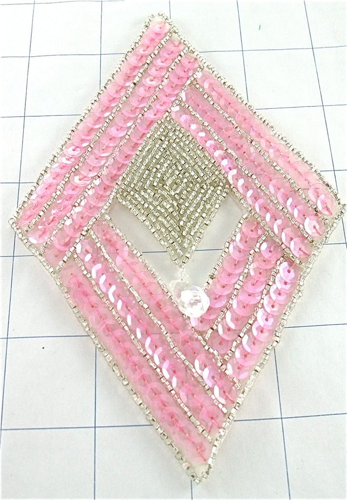 "Designer Motif Diamond with Pink Sequins and Beads 6"" x 4"""