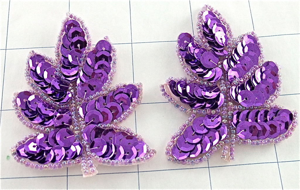 "Leaf with Purple Sequins Lite Purple Beads 3"" x 2"""