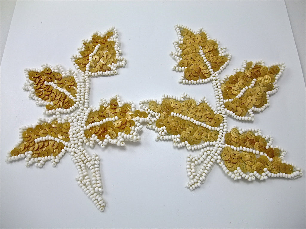 "Leaf Pair with Tan Wood Small Sequins and Beads 5"" x 4"""