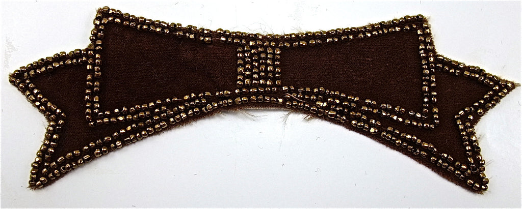 Bow Dark Brown Velvet Bow with Bronze Beads Handmade 6' x 2""