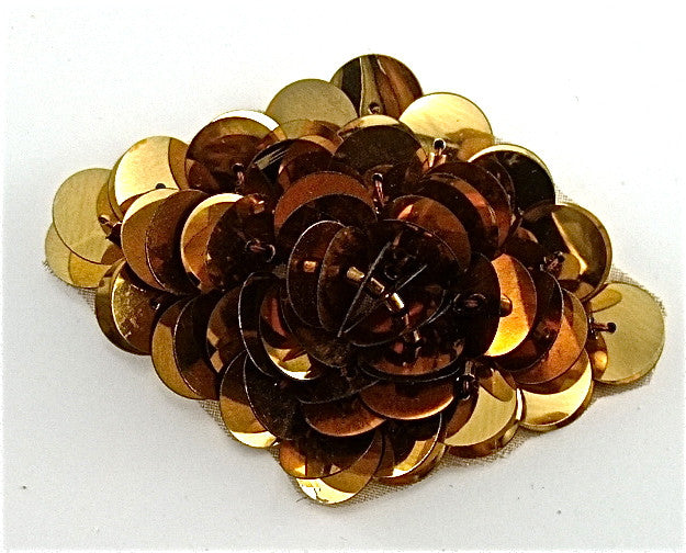 "Flower with High Rise Gold sequins 2.5"" x 1.5"""