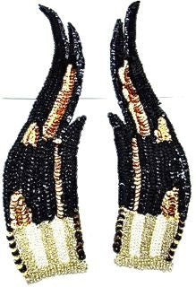 "Flame Pair with Black White Gold Sequins and Beads 12"" x 3"""