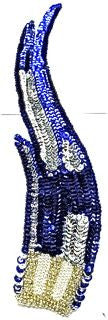 "Flame Single with Royal Blue and Silver Accents Beaded Bottom 12"" x 3"""