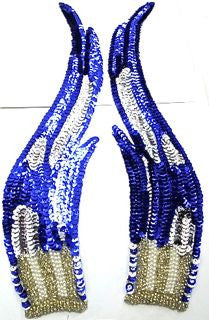 "Flame Pair with Royal Blue ans Silver Sequins with Silver and Pearl Beads 12"" x 3"""