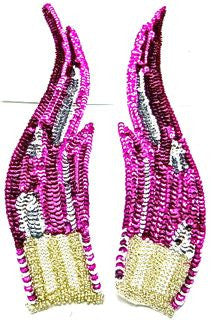"Flame Pair with Fuchsia and Silver Sequins and Silver and Pearl Beads 12"" x 3"""