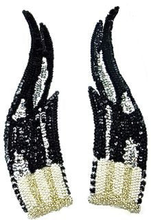 "Flame Large Black Pair with Sequins and Beads Silver Beaded 12"" x 3"""