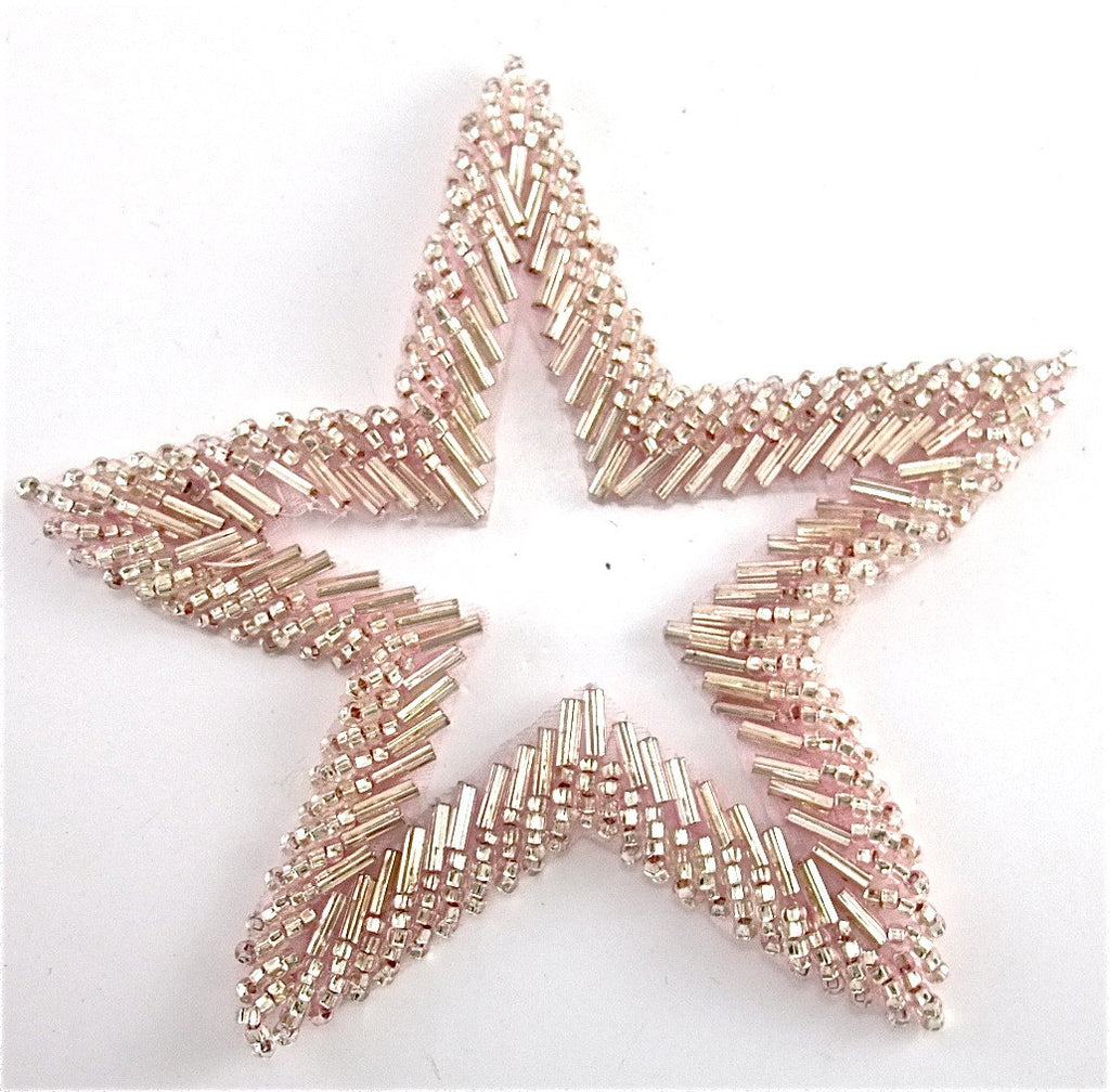 "Star with Pink Beads with Cut Out Center 4"" x 4"""