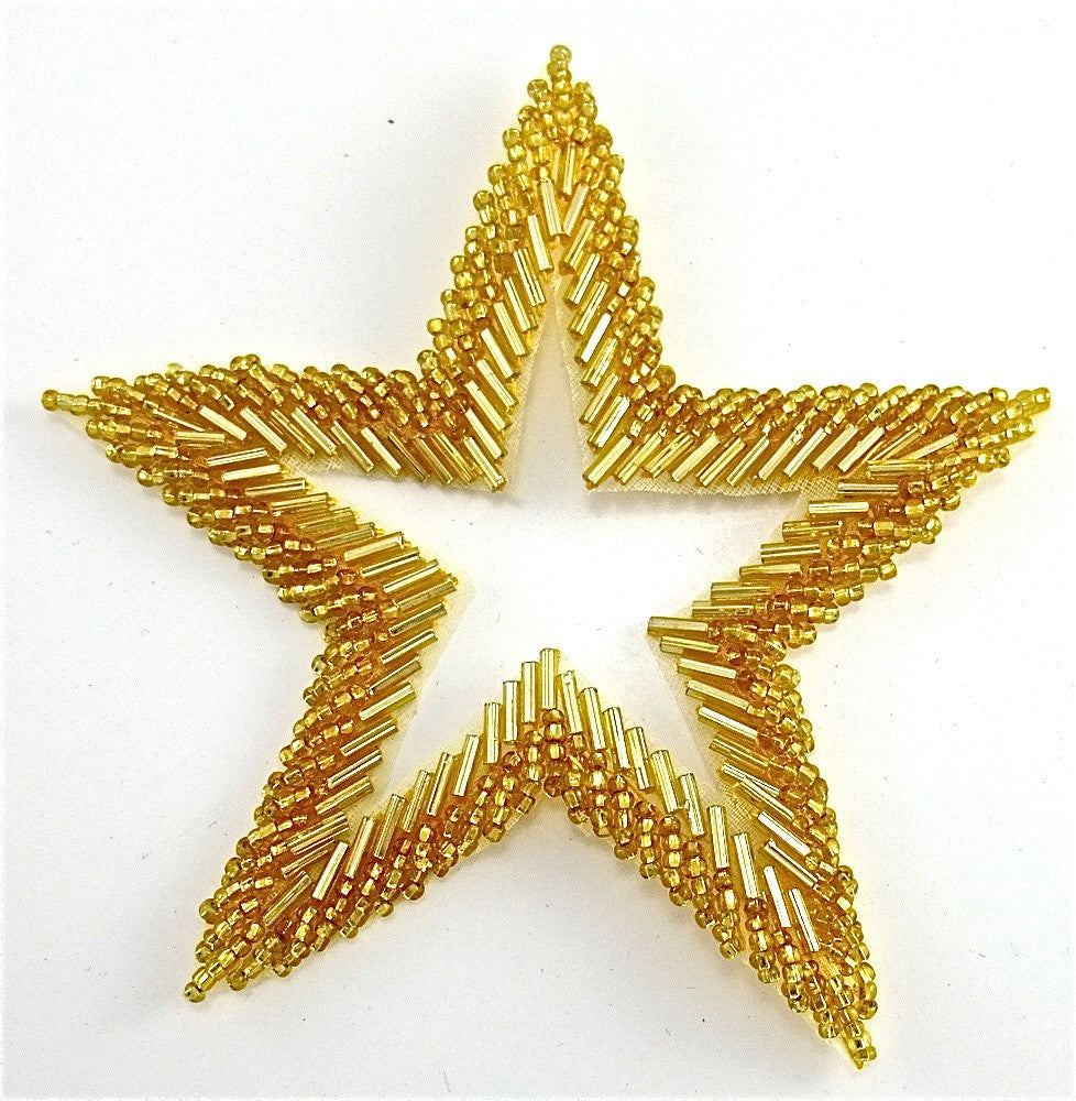 Star with Gold Bead with Cut Out Center 5""