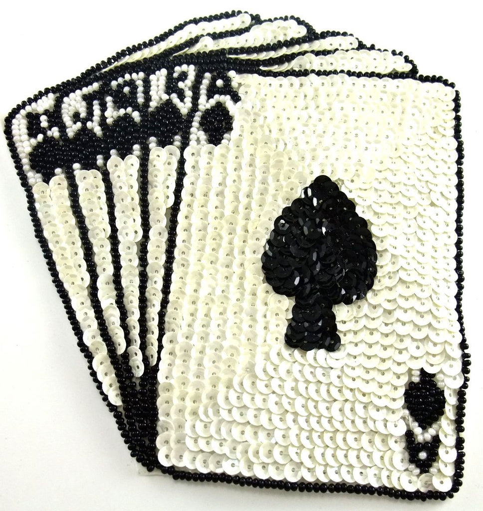 Card Set with A, J, Q,K, White Sequins Black Beads 5' x 6""