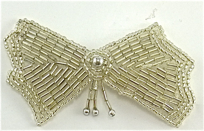 "Bow with Silver Beads 3"" x 2.75"""
