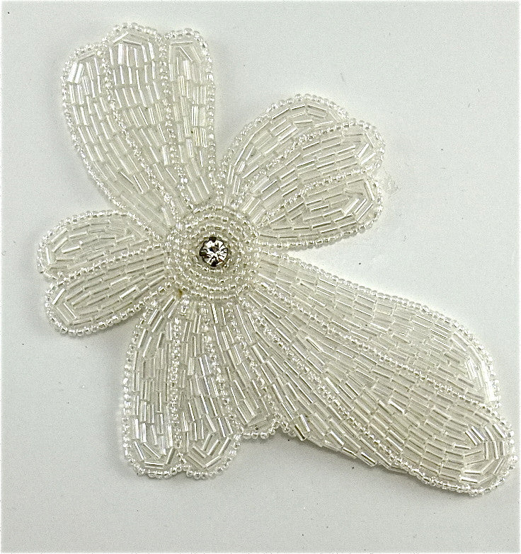 "Flower with White Iridescent Beads and Rhinestone 5.5"" x 4"""