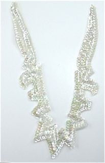 "Designer Motif Neck Line with Iridescent Sequins and Beads 8"" x 5"""