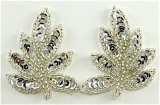 "Leaf Pair with Silver Sequins and Beads* 2.5"" x 2"""