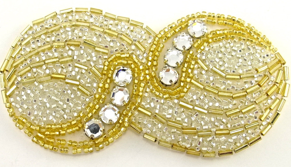 "Designer Motif with Silver Gold Beads and Rhinestones 2"" x 4"""