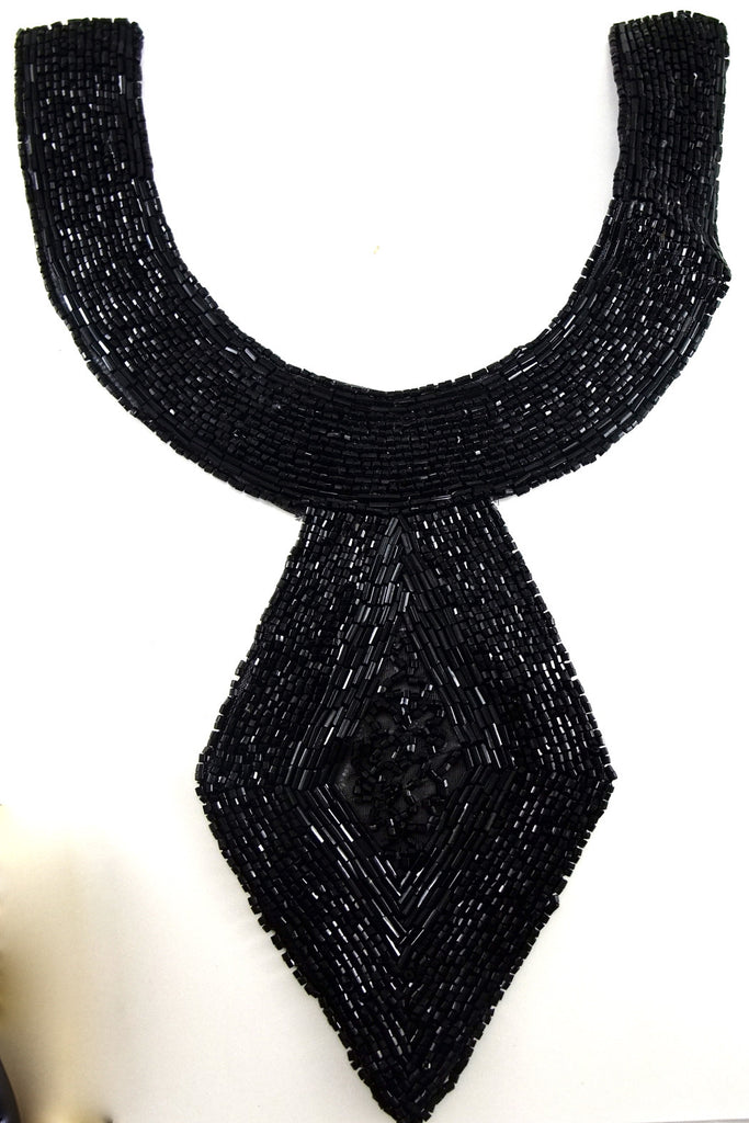 "Designer Motif Neck Line with All Black Beads 14"" x 8"""