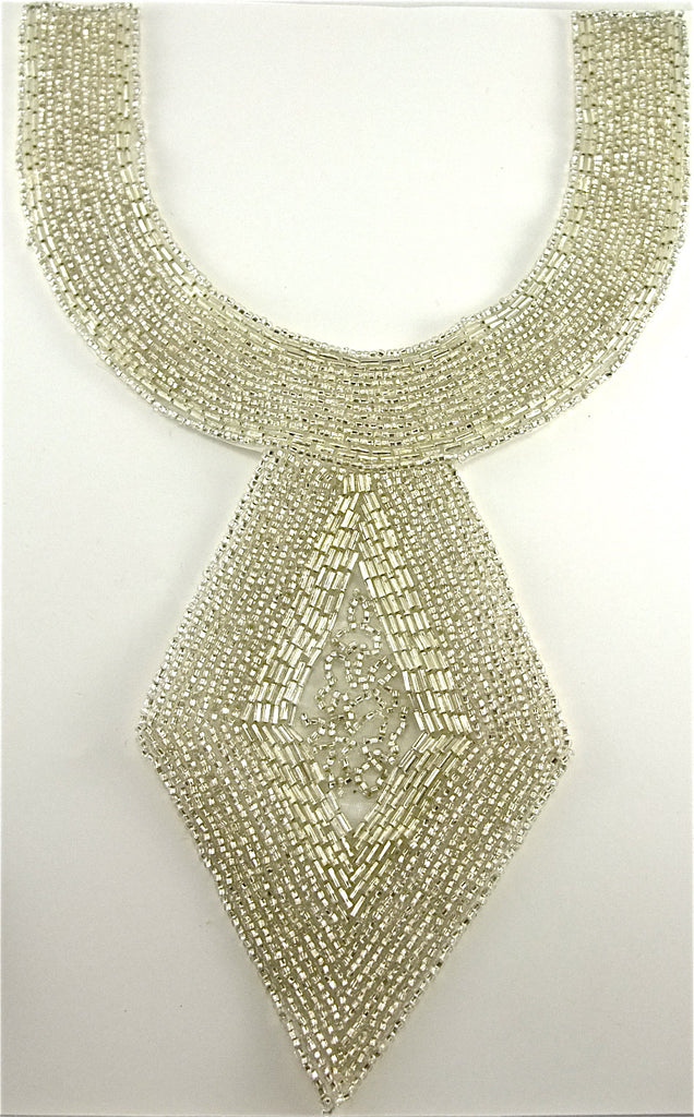 "Designer Neck Line with Silver Beads 11"" x 7"""