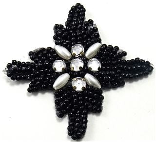 "Design Motif Beaded Black Stars with Rhinesones 2"" x 2"""