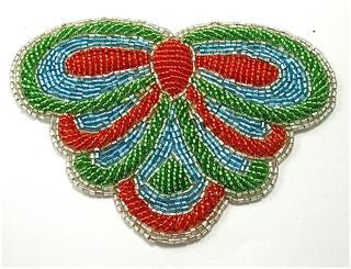 "Designer Motif with Green and Orange Beads 5"" x 4"""