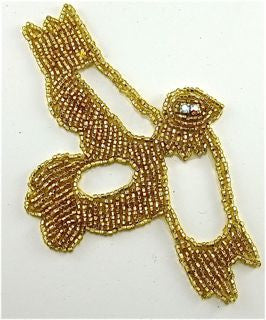 "Bird Gold Beaded with Rhinestone eye 5.5"" X 3.5"""