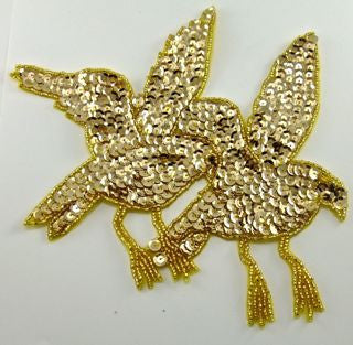 "Birds in Flight with Gold Sequins and Beads 8.5"" x 7"""