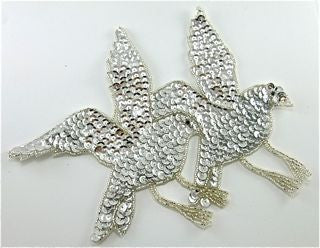"Birds in Flight with Silver Sequins and Beads 8.5"" X 7"""