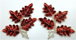 "Leaf with Red Sequins and Silver Beads 5"" x 4"""