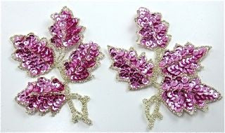 "Leaf Pair with Mauve Sequins and Silver Beads 5"" x 4"""