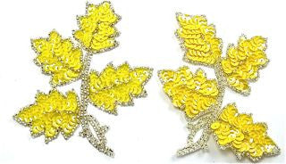 "Leaf Pair with Yellow Sequins and Silver Beads 4"" x 5"""