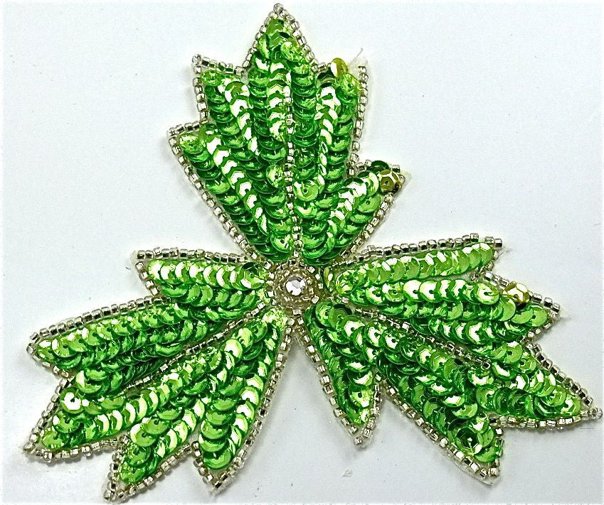 "Leaf with Lime Green Sequins and Silver Beads 4""x 4"""