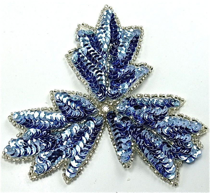 "Leaf with Lite Blue Sequins and Silver Trim with Rhinestone 4"" x 4"""
