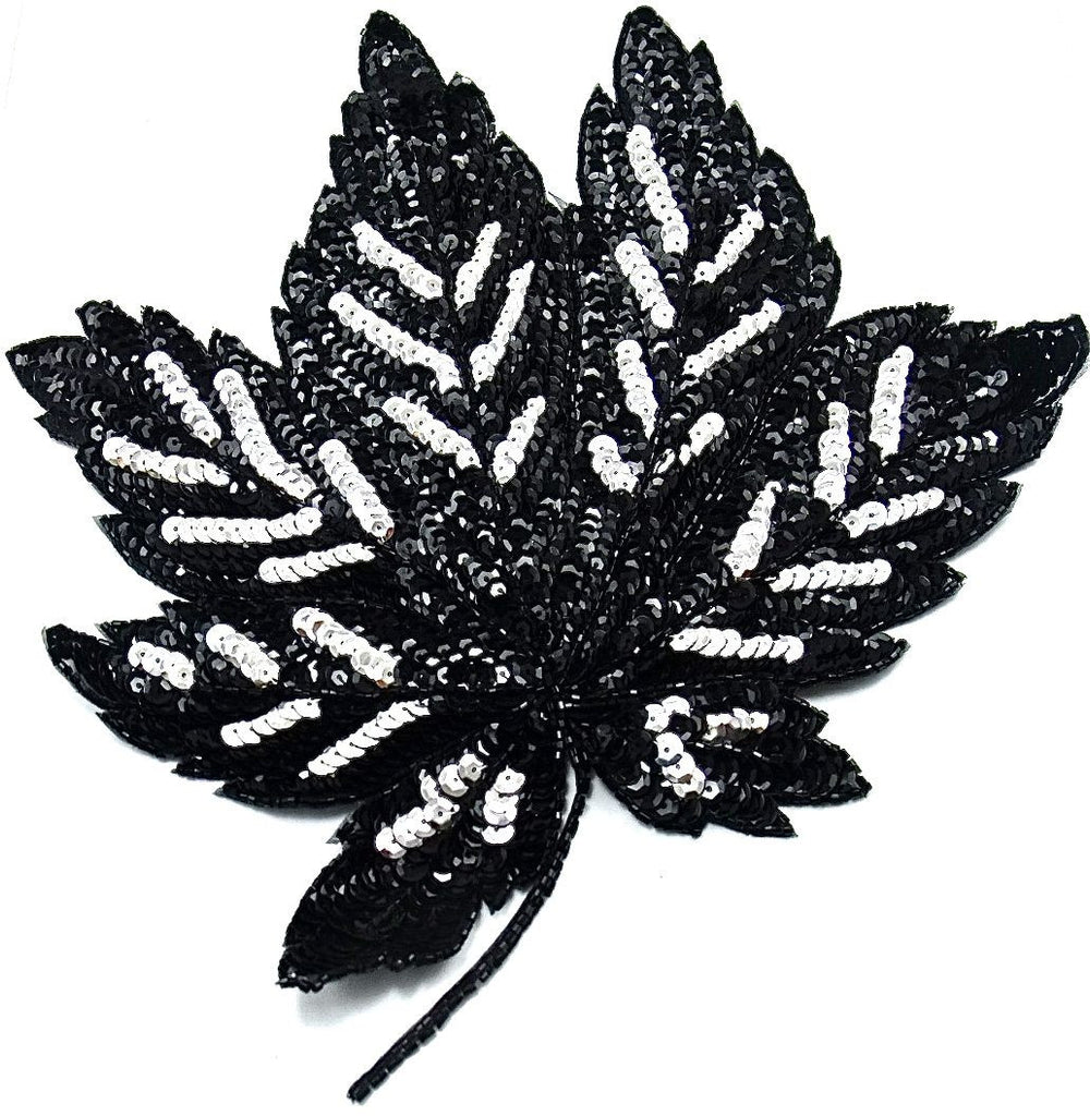 "Leaf with Black Sequins and Beads 10"" x 11.5"""