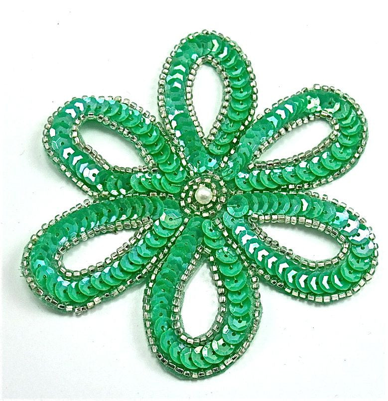 "Flower with  Sea Green sequins and Silver Beads 3.5"" x 3.5"""