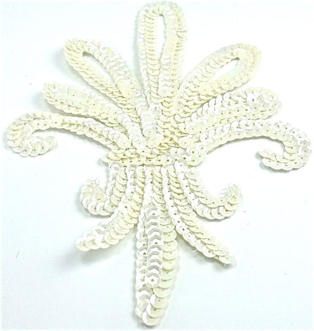 "Design Motif Fleur de Leis with White Sequins 7"" x 5"""