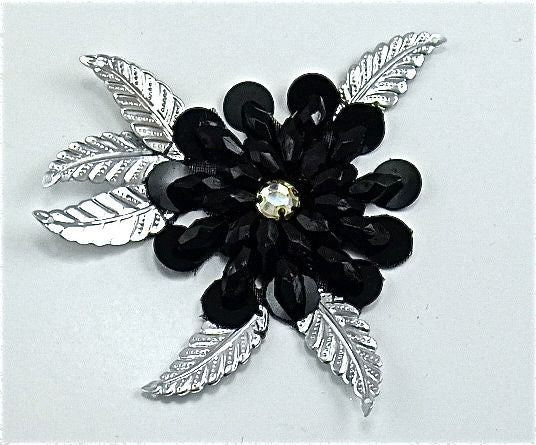 "Flower with Black Petals and Silver Leaves 3.5"" x 3.5"""