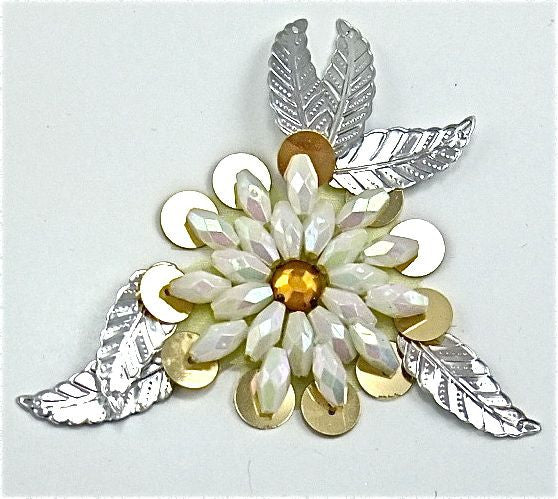 "Flower with Gold Sequins and White Beads 3"" x 3"""