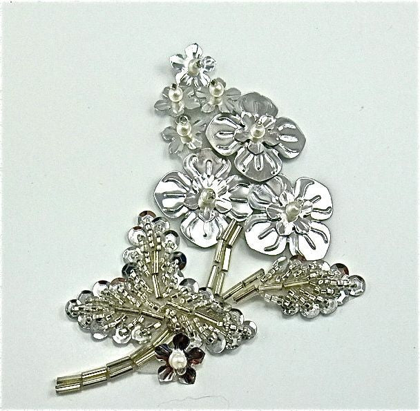 "Flower with Silver Beads and Pearls 2"" x 3.5"""