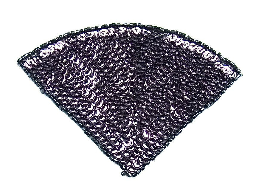 "Fan with Charcoal Lavender Sequins with Black Bead 3.5"" x 5"""